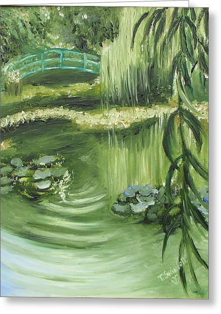 Monet's Garden Greeting Card by Tina Swindell