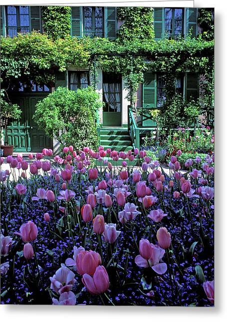 Monet's House With Tulips Greeting Card by Kathy Yates