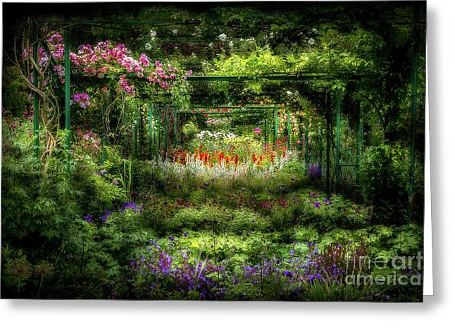 Monet's Lush Trellis Garden In Giverny, France Greeting Card