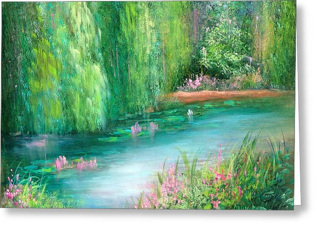 Monet's Pond Greeting Card by Sally Seago