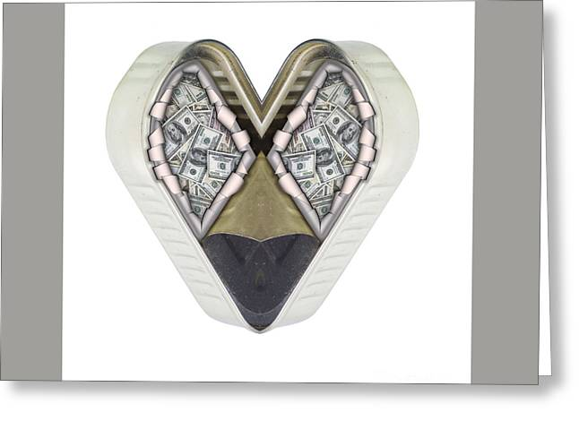 Money And Heart Greeting Card by Michal Boubin