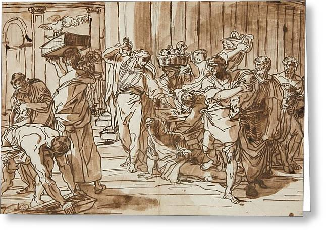 Money Changers From The Temple Greeting Card
