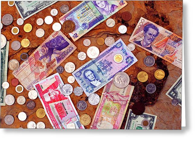 Money From Around The World Greeting Card by Thomas R Fletcher