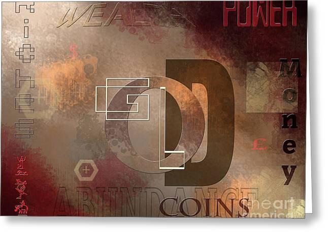 Money Gold Abundance Greeting Card by Lance Sheridan-Peel