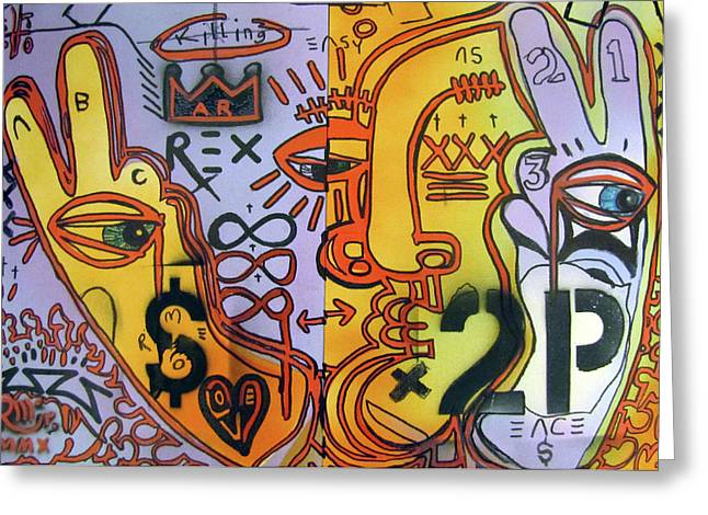 Money To Peace Greeting Card by Robert Wolverton Jr