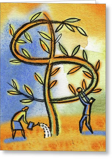 Greeting Card featuring the painting Money Tree by Leon Zernitsky