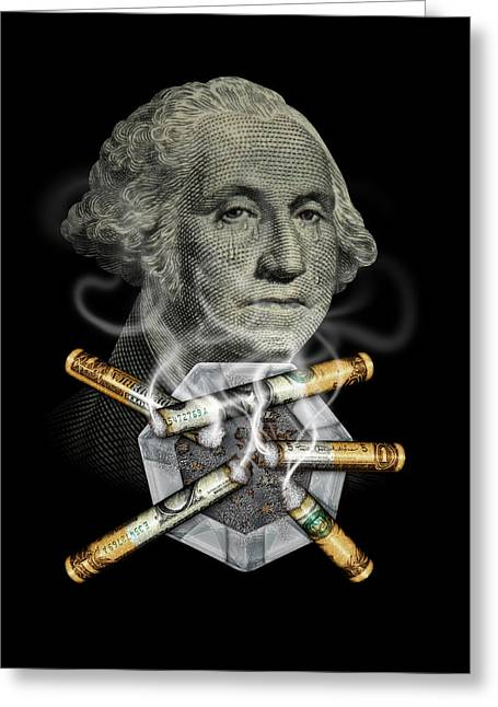 Money Up In Smoke Greeting Card