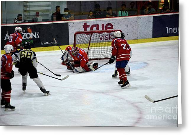 Mongolia Team Players Defend Goal Vs Malaysia In Ice Hockey Match In Rink Bangkok Thailand Greeting Card