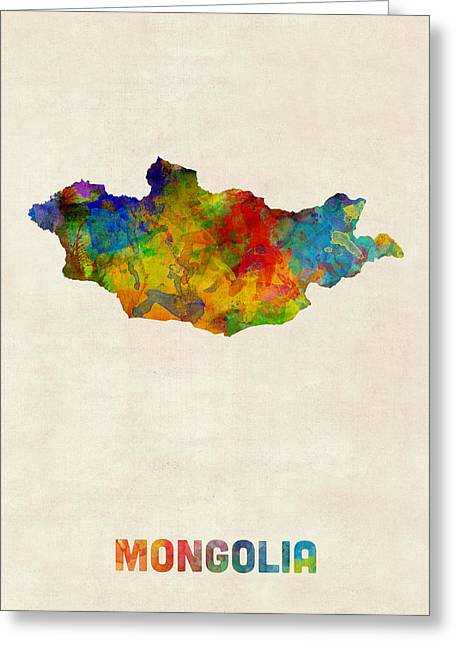 Greeting Card featuring the digital art Mongolia Watercolor Map by Michael Tompsett
