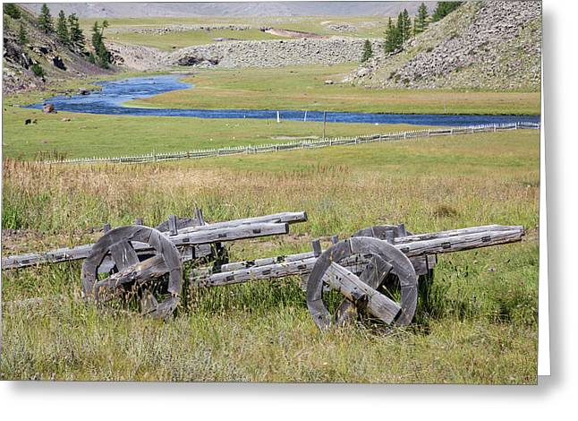 Greeting Card featuring the photograph Mongolian Ox Carts by Hitendra SINKAR