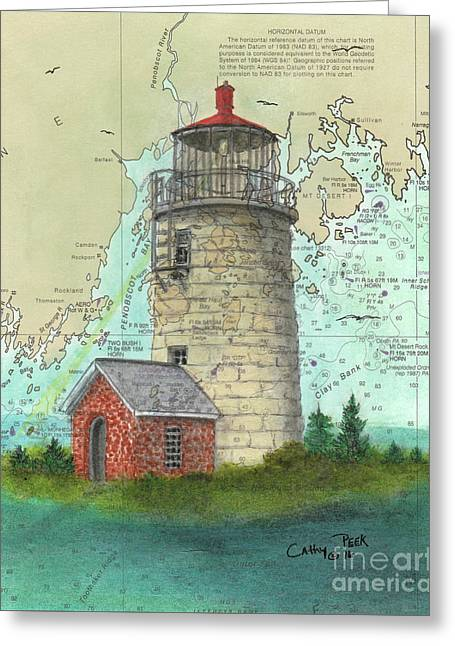 Monhegan Island Lighthouse Nautical Chart Map Maine Greeting Card by Cathy Peek