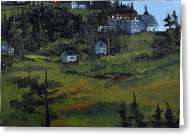 Monhegan View From Lighthouse Hill Greeting Card by J R Baldini