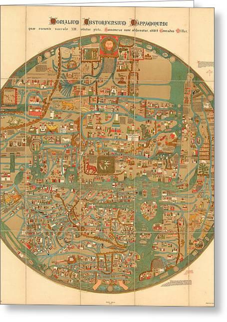 Monialium Ebstorfensium Mappammundi - Ebstorf Map - Pictorial Map -map Of The World - Antique Map Greeting Card