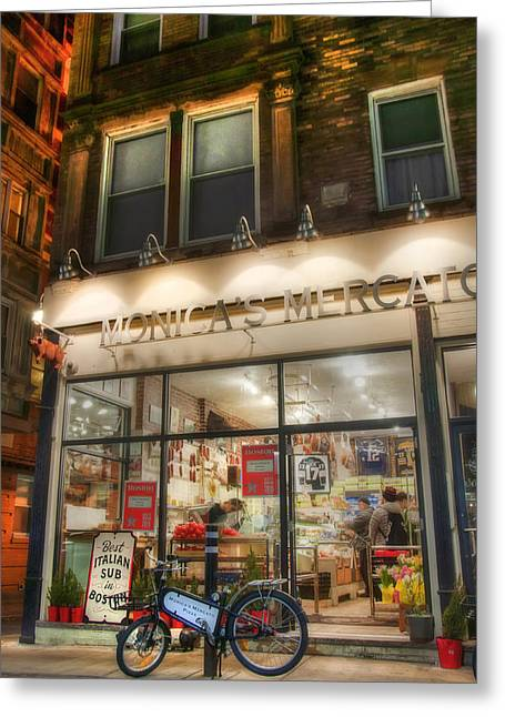 Monica's Mercato - Boston North End Store Front Greeting Card by Joann Vitali
