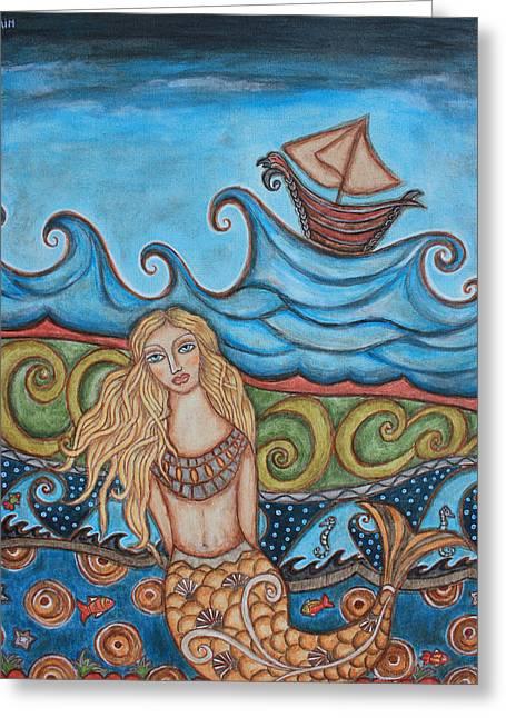 Monique Mermaid Greeting Card by Rain Ririn
