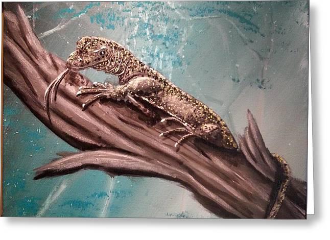 Monitor Lizard On The Branch Greeting Card by Judit Szalanczi
