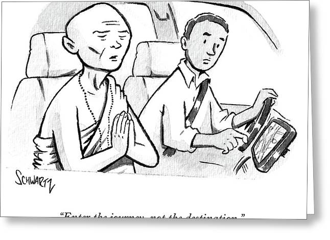 Monk Enters A Cab With No Destination. Greeting Card