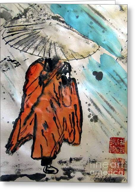 Monk In Rain, Chinese Watercolor Greeting Card