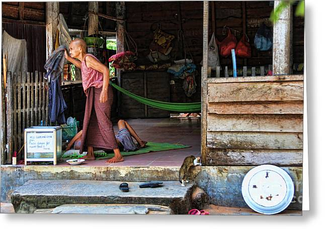 Monk Retreat   Greeting Card