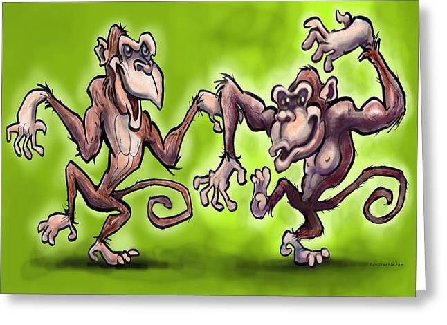 Monkey Dance Greeting Card by Kevin Middleton