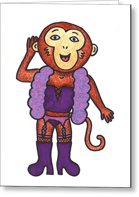 Monkey Drag Greeting Card by Lady Beaver