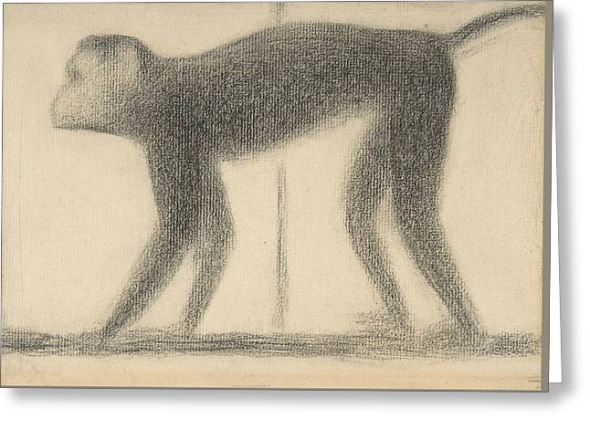 Monkey Greeting Card by Georges-Pierre Seurat