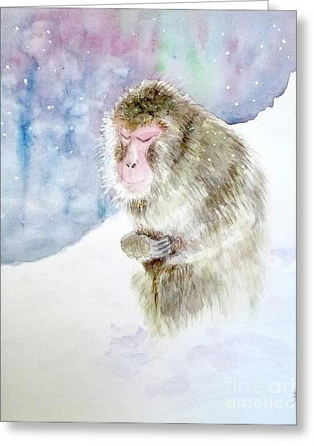 Monkey In Meditation Greeting Card