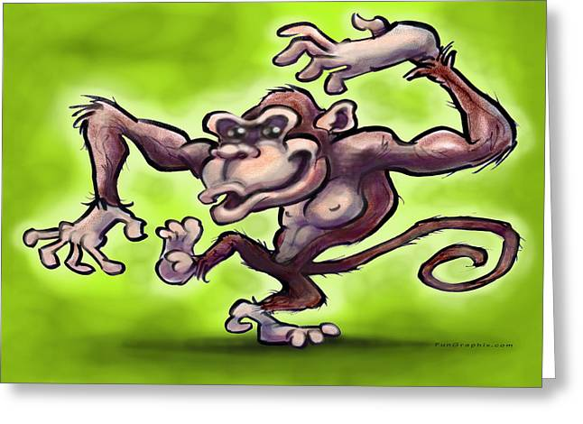 Monkey Greeting Card by Kevin Middleton