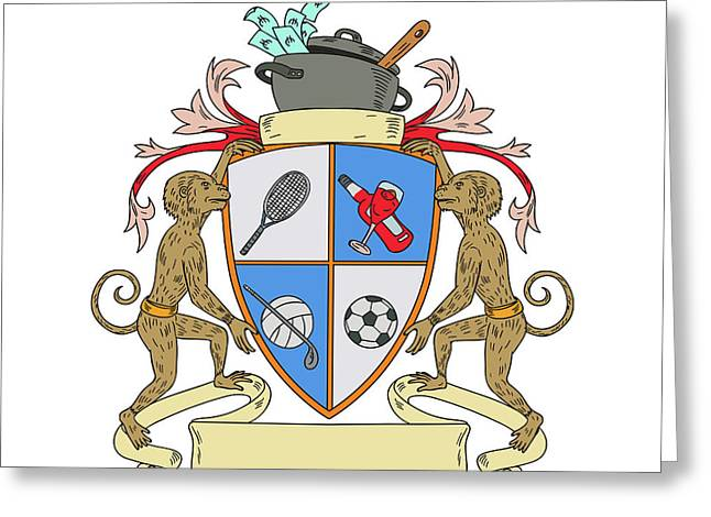 Monkey Money Cook Pot Sports Wine Coat Of Arms Drawing Greeting Card by Aloysius Patrimonio