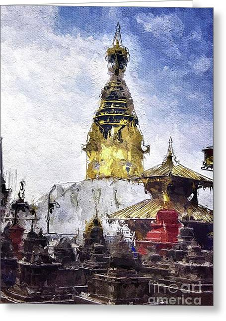 Monkey Temple, Nepal Greeting Card