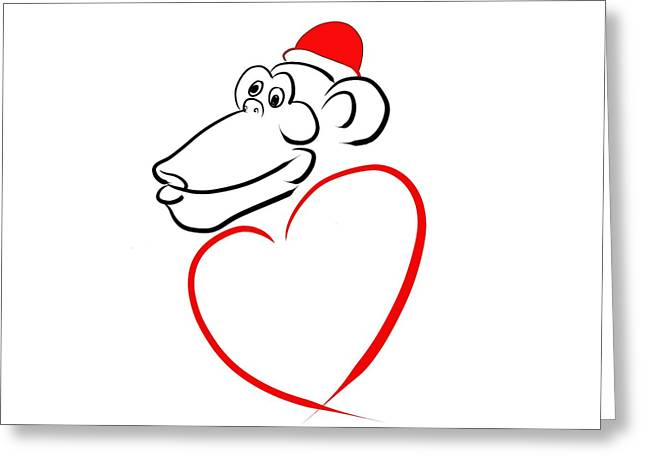 Monkey With Love Greeting Card by Alexandr Az