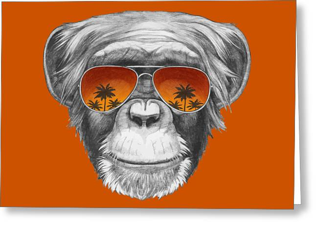 Monkey With Mirror Sunglasses Greeting Card by Marco Sousa