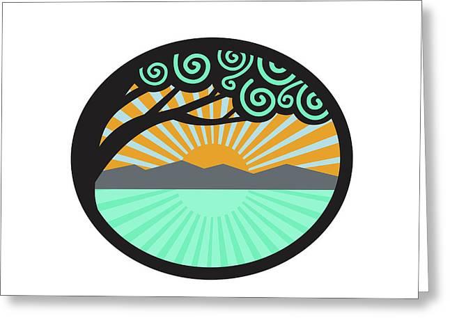 Monkeypod Tree Mountain Sea Sunrise Oval Retro Greeting Card