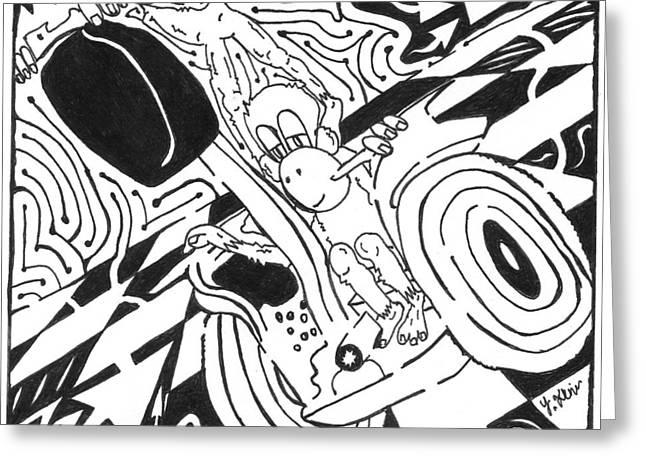 Yonatan Frimer Mixed Media Greeting Cards - Monkeys on Segway Greeting Card by Yonatan Frimer Maze Artist