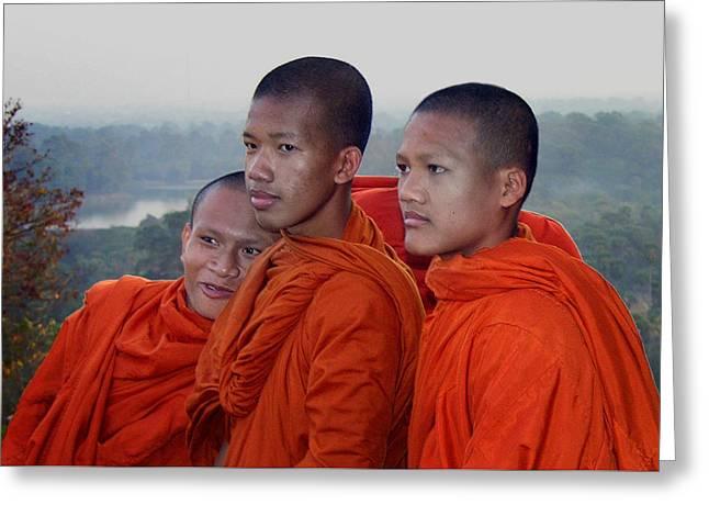 Monks At Angkor Wat Greeting Card