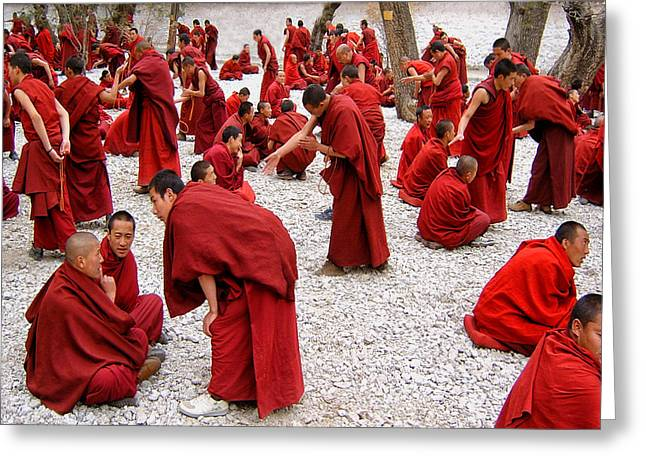 Monks Debating Greeting Card by Yvette Depaepe