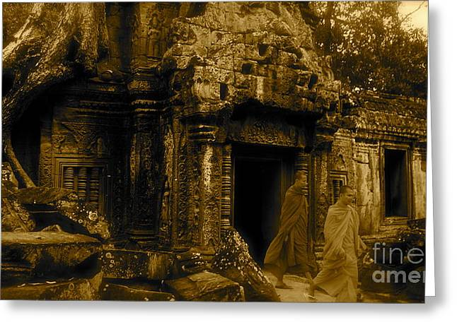 Monks Leaving Angkor Wat Greeting Card by Louise Fahy