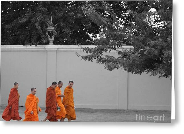 Monks On The Way Home Greeting Card by Louise Fahy
