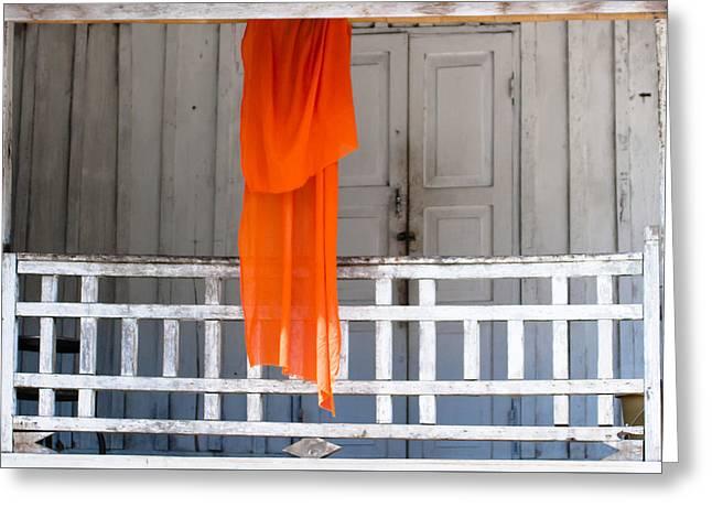 Monk's Robe Hanging Out To Dry, Luang Prabang, Laos Greeting Card