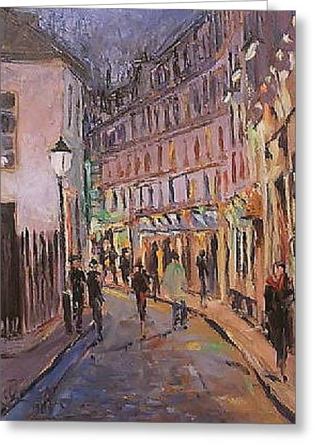 Greeting Card featuring the painting Monmartre by Walter Casaravilla