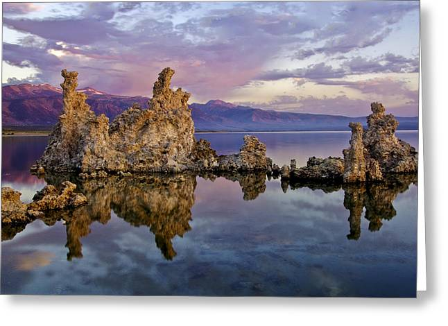 Haze Photographs Greeting Cards - Mono Lake Sunset Greeting Card by Dave Dilli