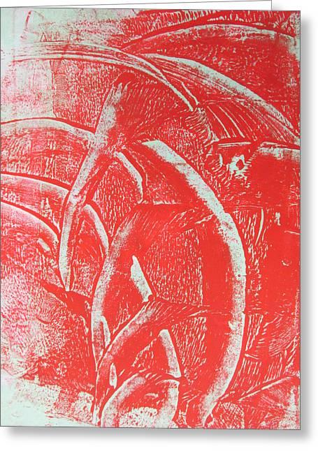 Mono Print 001 - Rotation Greeting Card by Mudiama Kammoh
