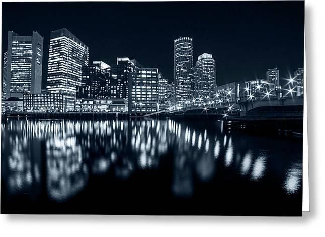 Monochrome Blue Seaport Bridge Boston Skyline Reflection Boston Ma Greeting Card by Toby McGuire