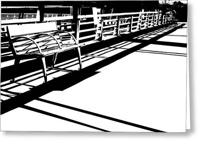 Monochrome Bridge Bench Greeting Card
