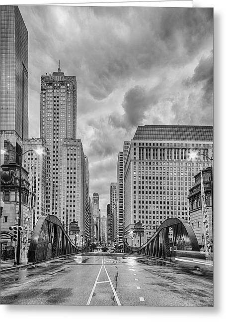 Monochrome Image Of The Marshall Suloway And Lasalle Street Canyon Over Chicago River - Illinois Greeting Card by Silvio Ligutti