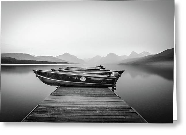 Monochrome // Lake Mcdonald, Glacier National Park Greeting Card