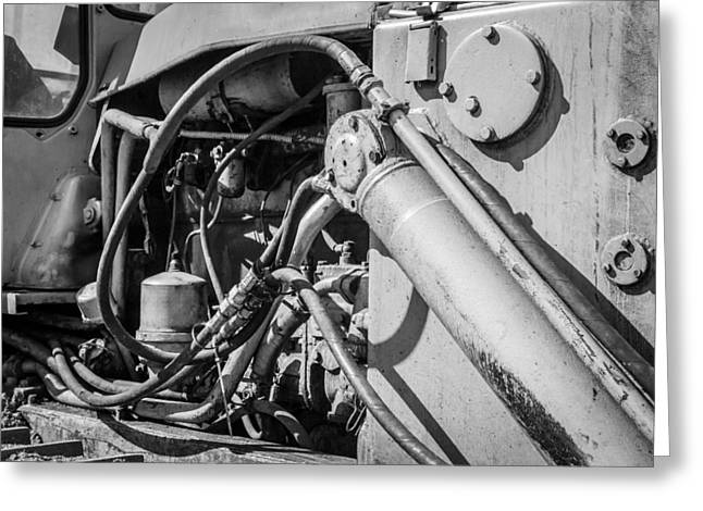 Monochrome Of An Industrial Machines Engine Compartment Greeting Card by John Williams