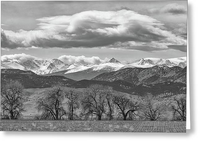 Greeting Card featuring the photograph Monochrome Rocky Mountain Front Range Panorama Range Panorama by James BO Insogna