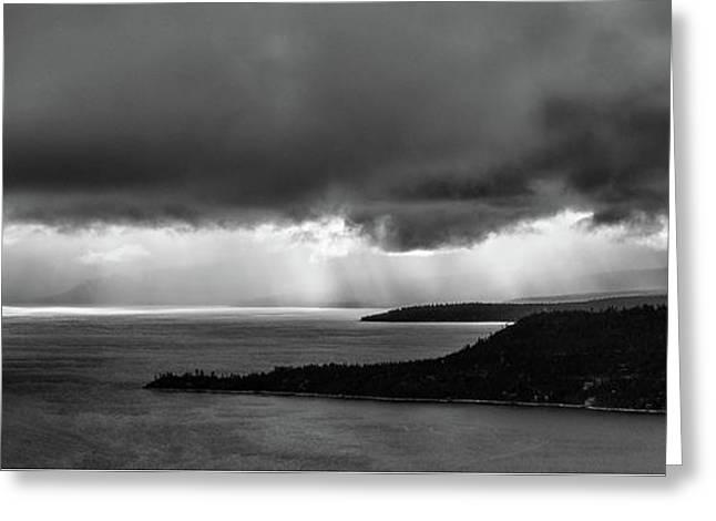 Monochrome Storm Panorama Greeting Card