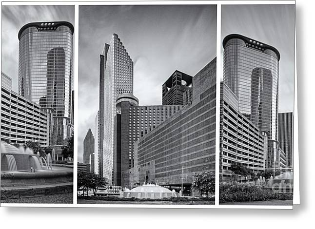 Monochrome Triptych Of Downtown Houston Buildings - Harris County Texas Greeting Card